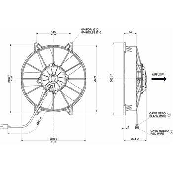 SPAL ventilaator 12v diameeter 255mm sügavus 94mm imev