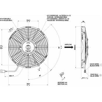 SPAL ventilaator 24v diameeter 280mm sügavus 52mm puhuv