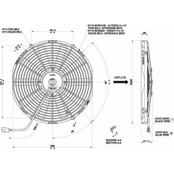 SPAL ventilaator 12v diameeter 350mm sügavus 52mm puhuv