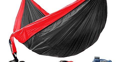 "514tDQIgSiL - Winner Outfitters Double Camping Hammock - Lightweight Nylon Portable Hammock, Best Parachute Double Hammock For Backpacking, Camping, Travel, Beach, Yard. 118""(L) x 78""(W) Red/Charcoal"