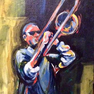 TROMBONE. Acrylic on canvas board. 8x10in. SOLD.