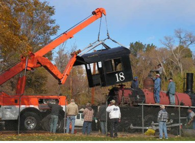 Removing the cab.
