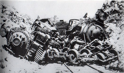 Engines Nos. 5 and 8 forelornly await help in 1923 (Southern Pacific collection)