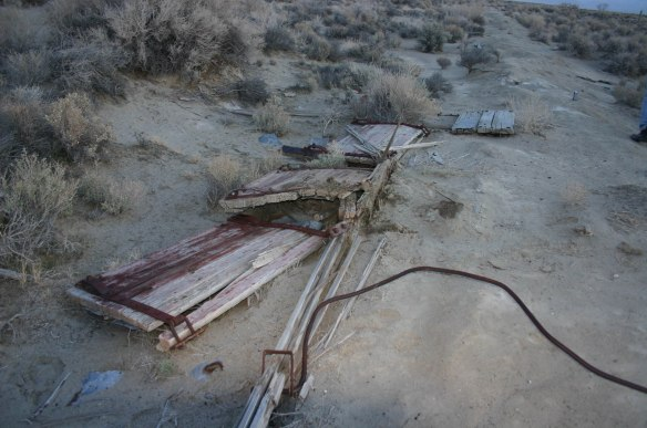 Remains of a wreck, a side dump gondola. 2008