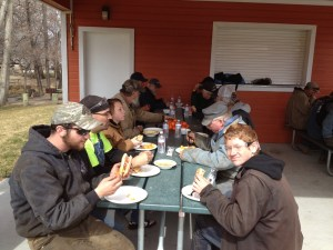 Some of the crew that made this all possible enjoying another Independence lunch.