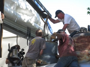 Guiding the dome into place