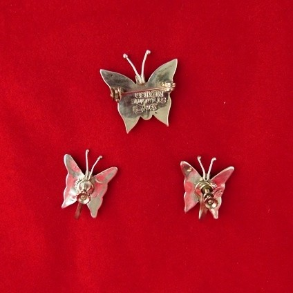 Sterling Silver Butterfly Pin and Earrings Set