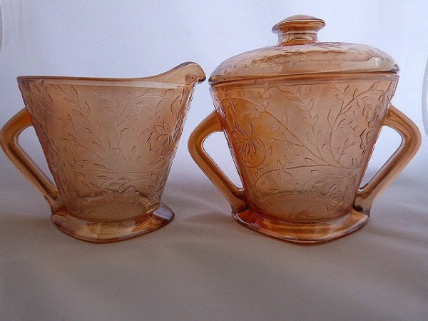 Covered Sugar Bowl and Creamer - Louisa by Jeanette Glass
