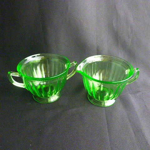 Federal Colonial Fluted-Green Rope Sugar and Creamer