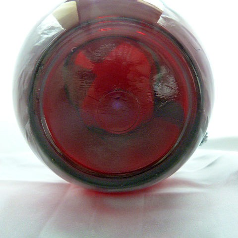 Vintage Ruby Red Ball Pitcher with Ice Lip by Anchcor Hocking