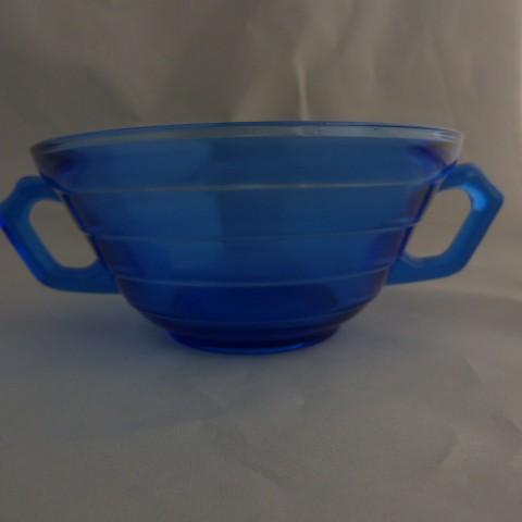 Depression Glassware Blue Cream Soup Bowl