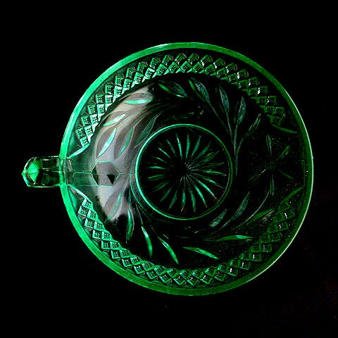 Depression Handled Green Glass Dish by US Glass