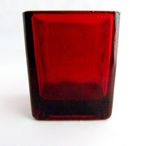 "Red Glass 2"" Square Votive Holder"