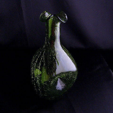 Vintage Hand Blown Green Glass Decanter