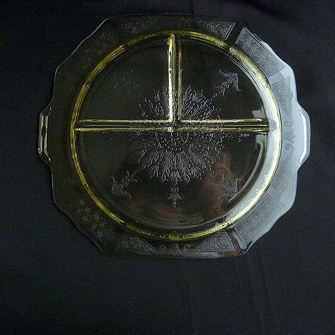 Depression Yellow Glass Relish Dish