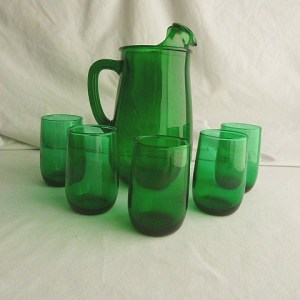 Forest Green Pitcher and Tumblers