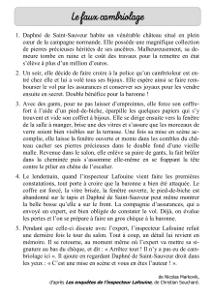 Enquête De L Inspecteur Lafouine : enquête, inspecteur, lafouine, Lecture, Cambriolage, (Markovik,, Nicolas), Cartable, D'une, Maitresse