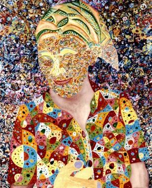 """""""A Cigana Me Disse"""" 2001 140 x 110 cm  acrílica s/ tela + colagem"""