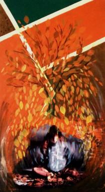 Folhas na escuridão- Colagem e acrílico sb tela- 50x90-2009