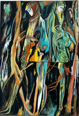 Mulheres na floresta- guache sb papel- 28x40