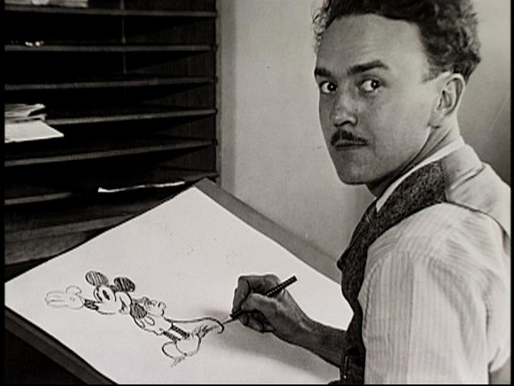 Ub Wickers dibujando a su creación, Mickey Mouse