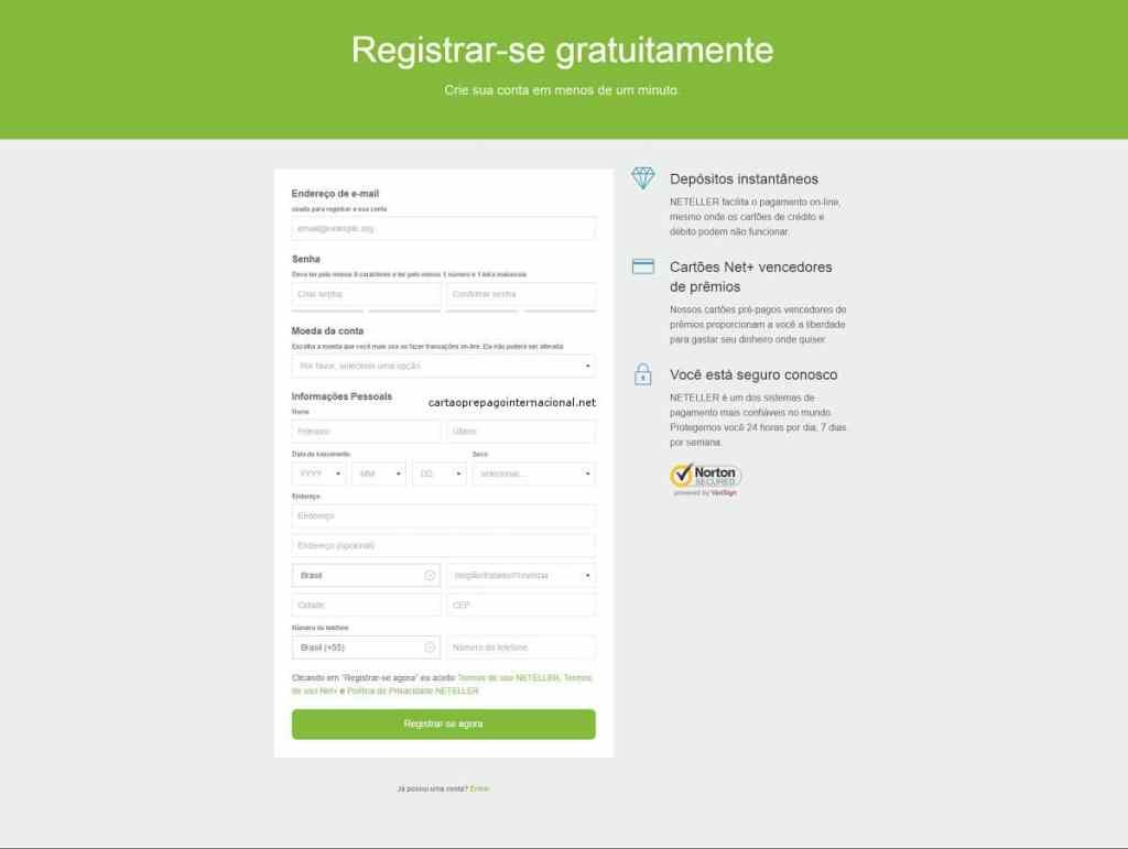 NETELLER Registre-se gratuitamente
