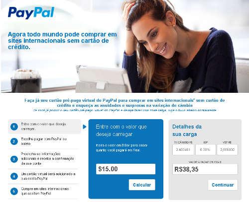 Cartão pré-pago do paypal