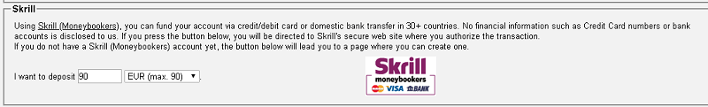 Depositar na VirWox pela Skrill em euros