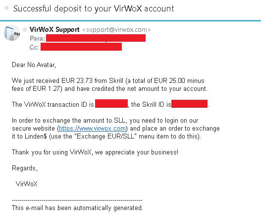 Depositar na VirWox pela Skrill em euros - Confirmação por e-mail
