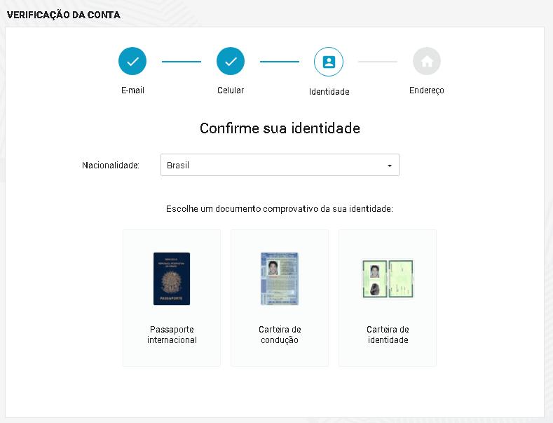Epayments Escolha Documento Carteira habilitação RG passaporte