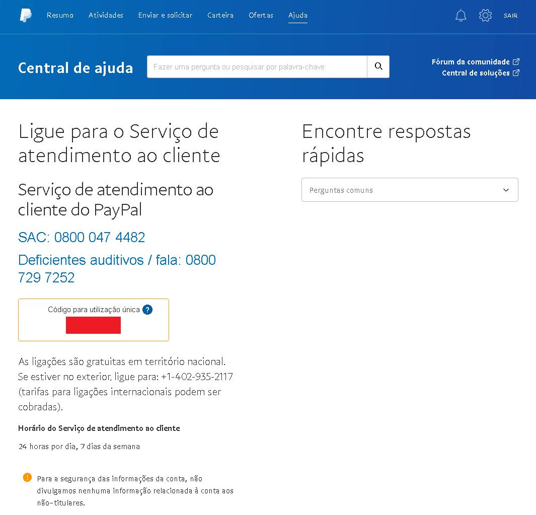 Serviço de atendimento do Paypal - SAC