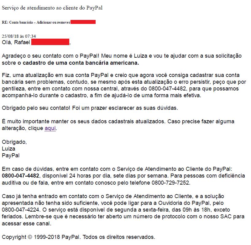 Suporte por e-mail do Paypal Liberando cadastro conta bancária EUA