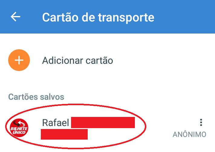 Cartão transporte salvo recargapay