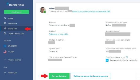 Transferwise beneficiários e enviar dinheiro