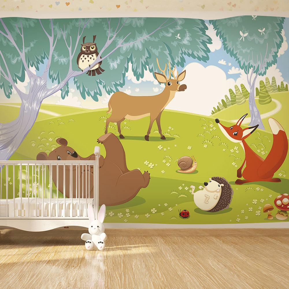 Clown, orsi, conigli, elefanti acrobatici e mongolfiere colorate, pensate per le pareti delle camerette dei bambini.. Carta Da Parati Gli Animali Del Bosco Fotomurale Carta Parati