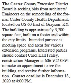 Carter County Extension Office seeking bids