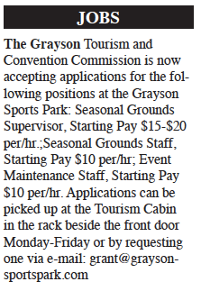 Jobs – Grayson Tourism and Convention Commission