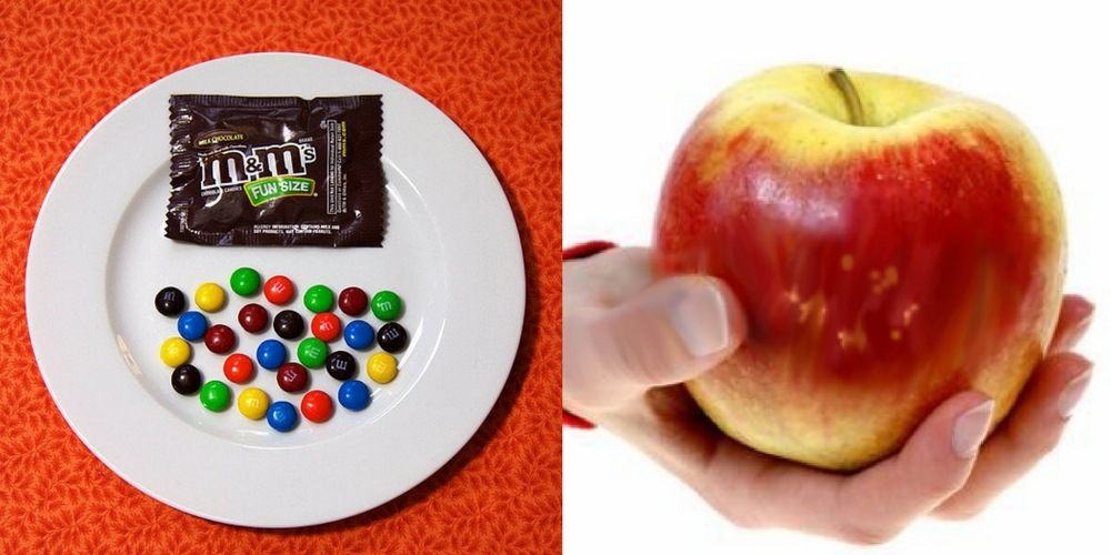 M&M's v.s. Apple - 100 calories