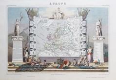 Carte géographique ancienne de l'Europe