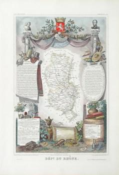 Carte géographique ancienne du département du Rhône
