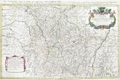 Grande carte géographique ancienne des Duchés de Lorraine La Lorraine qui comprend les Duchés de Lorraine et de Bar et les Baillages des Eveschés et des villes de Metz, Toul et Verdun