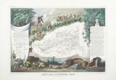 Carte géographique ancienne du département des Pyrénées Orientales