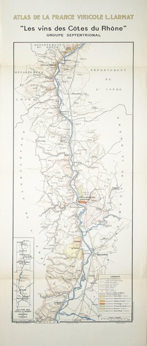 Carte Vinicole des Côtes du Rhône - Original antique map