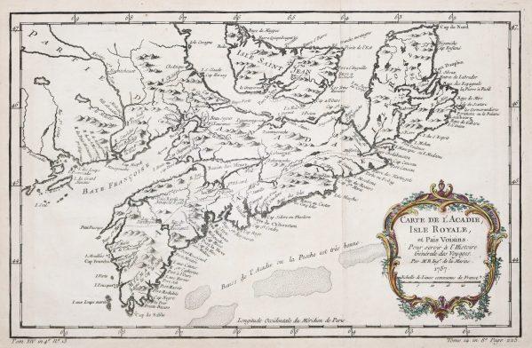 Carte géographique ancienne de l'Acadie - Ile Royale - Antique map