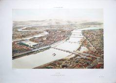 Gravure ancienne - Lyon - Guillotière - Voyage Aérien en France