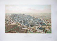 Gravure ancienne - Lille - Faubourg de Paris - Voyage Aérien en France
