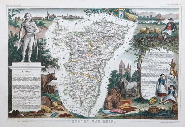 Carte géographique ancienne du Bas-Rhin