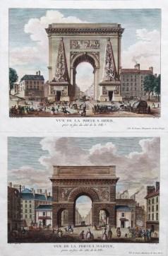 Gravure ancienne - Vue de La Porte Saint Denis & Porte Saint Martin - Paris