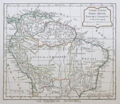 Carte géographique ancienne - Terre Ferme - Pérou - Brésil - Amazonie
