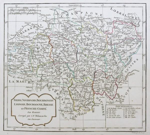 Carte géographique ancienne - Berri - Nivernais - Bourbonnais - Bourgogne